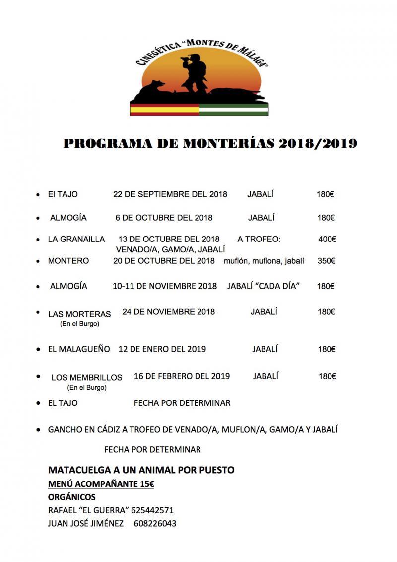 Programa de monterías Cinegética Montes de Málaga 2018-2019